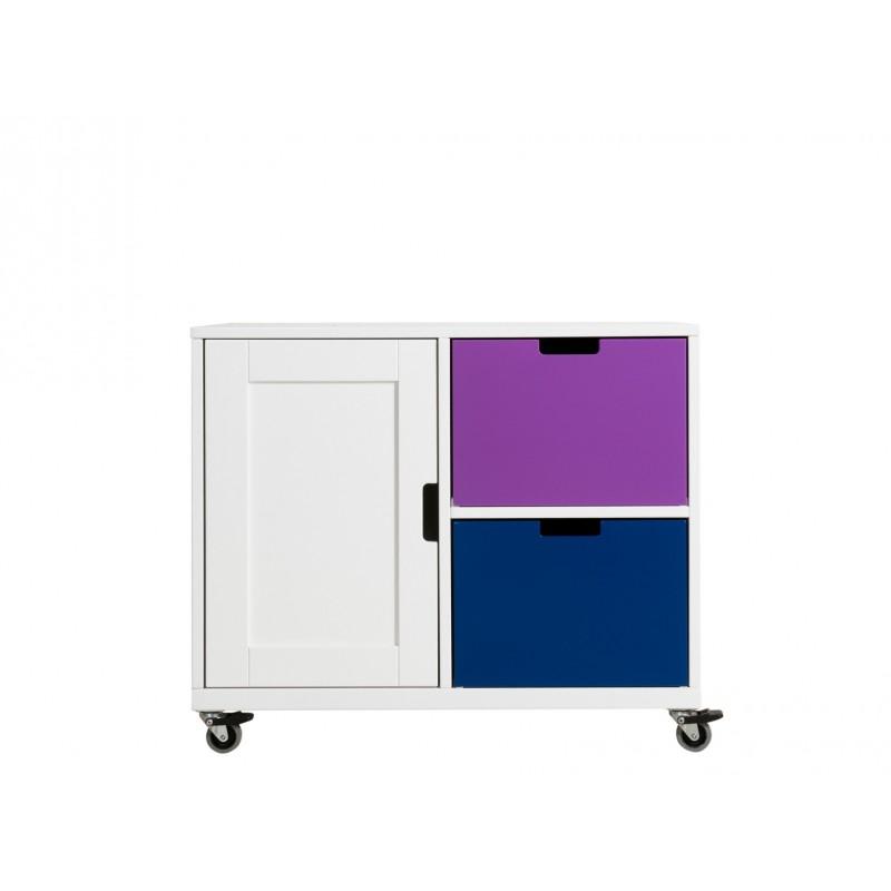 Armoire chambre bébé Petite armoire à roulettes izba blanc Bopita