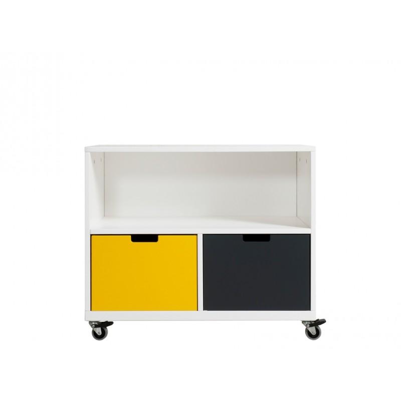 Armoire chambre bébé Petite armoire à roulettes j'une blanc (2 tiroirs 5946xx vendus séparément) bopita
