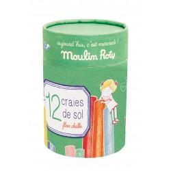 Moulin Roty Boîte de 12 craies la marelle aujourd'hui c'est mercredi moulin roty