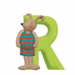 Lettre résine R lapin...