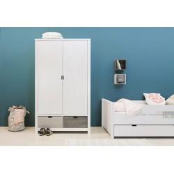 Armoire chambre bébé Armoire 2 portes xl basic wood white wash 2 tiroirs 135107xx vendus séparément bopita