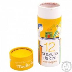Boîte de 12 crayons de cire aujourd'hui c'est mercredi moulin roty Moulin Roty
