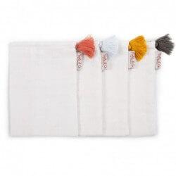Serviette de bain et gant Gants de toilette tetra blanc avec pompons childhome