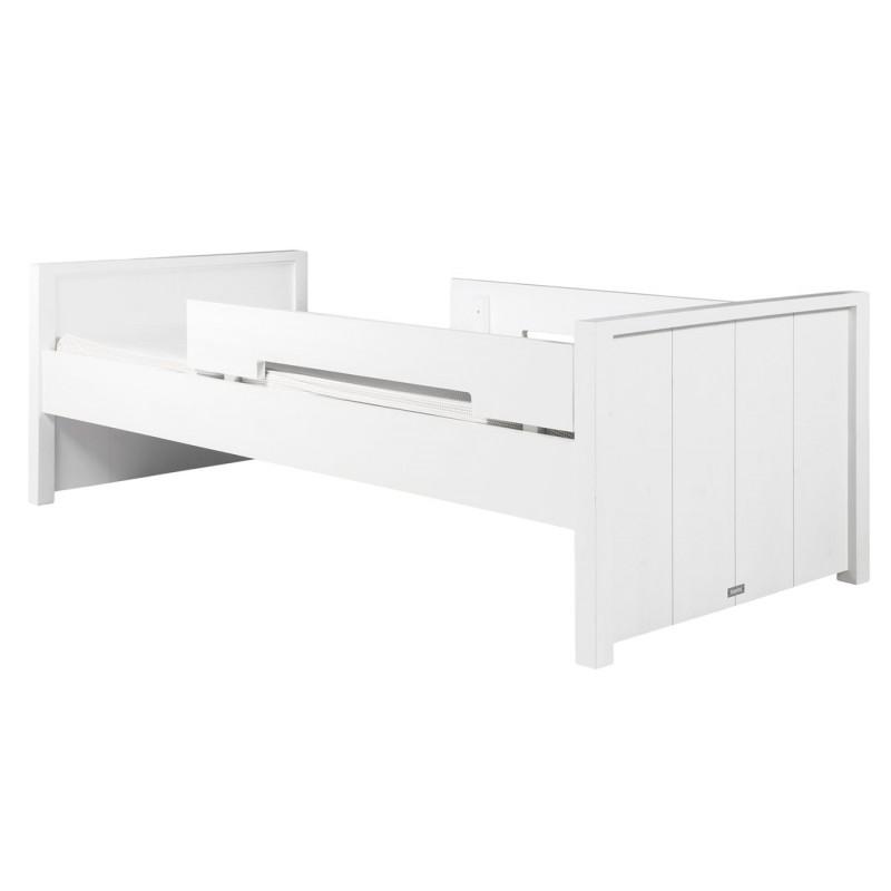 Lit Junior Lit 90x160 basic wood white wash avec 2 barres de protection bopita