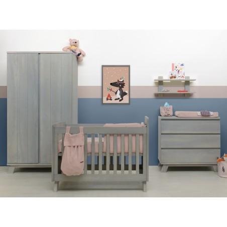 Lit bébé LIT BÉBÉ PEBBLE WOOD 60X120 BOPITA