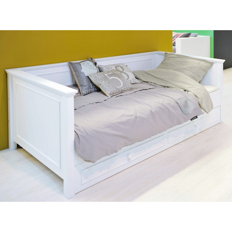 bopita lit banquette 90x200 charlotte blanc bopita. Black Bedroom Furniture Sets. Home Design Ideas