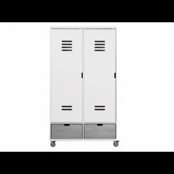 Armoire chambre bébé Armoire 2 portes locker à roulettes mix et match blanc