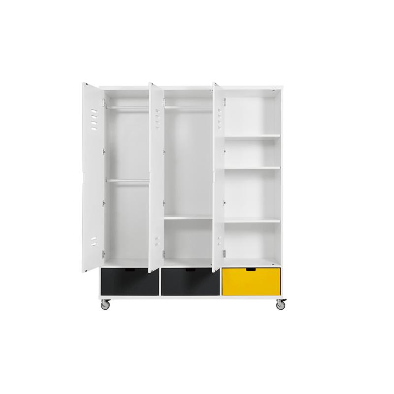 Armoire chambre bébé Armoire 3 portes locker à roulettes mix & match blanc (sans 3 tiroirs 3546xx) bopita