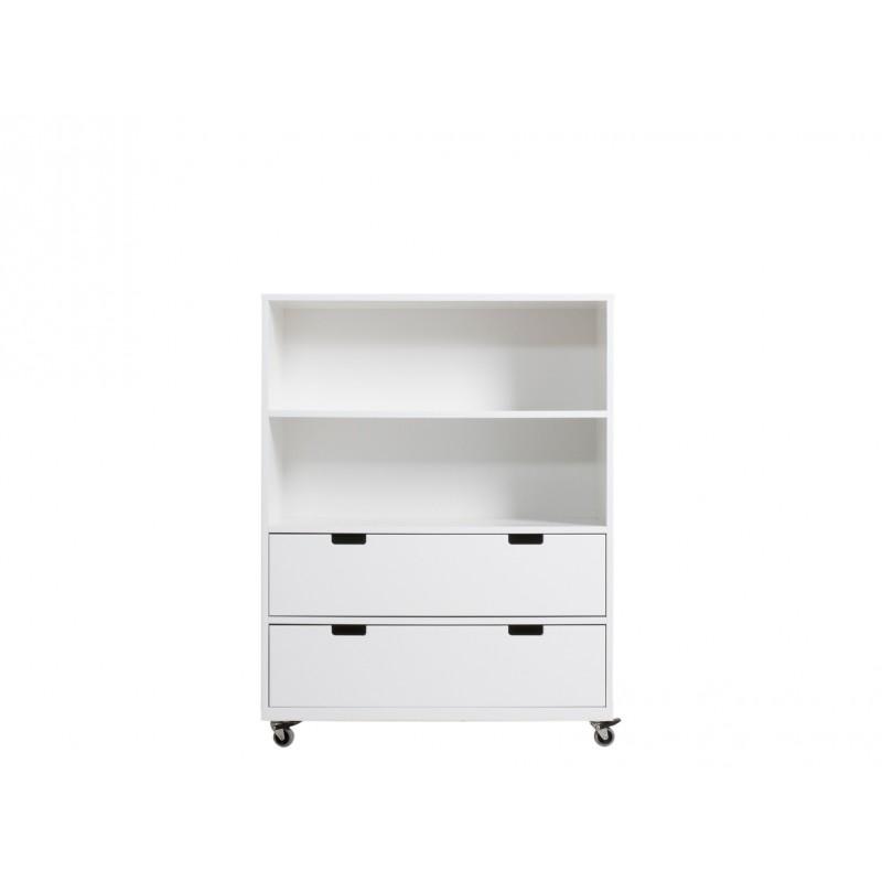 Petite armoire à roulettes avec tiroirs medium blanc bopita