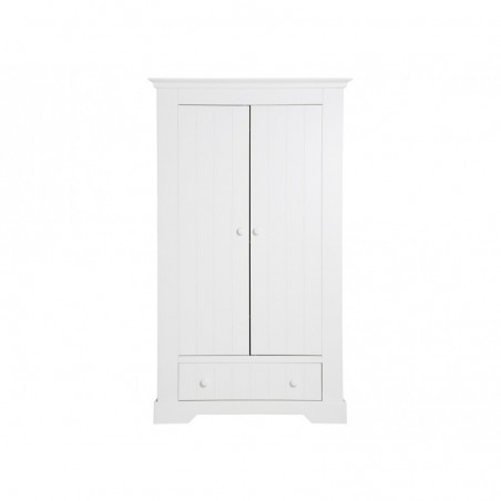Armoire 2 portes avec tiroir narbonne blanc bopita