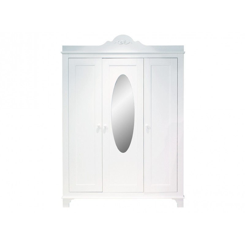 Bopita Armoire 3 portes avec miroir romantic blanc bopita
