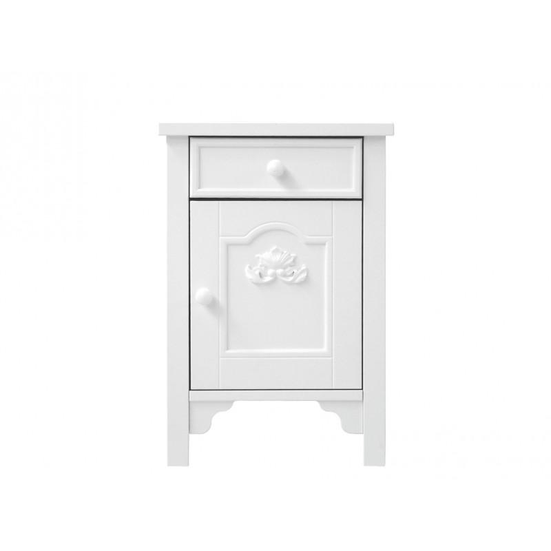 Table De Nuit Romantic Zeta Blanc Avec Ornement Profondeur Bopita