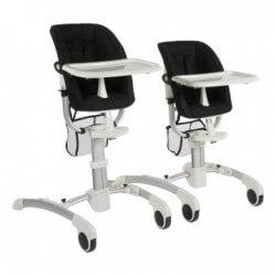 Chaises hautes Chaise enfant sky blanche - assise tissu noir quax