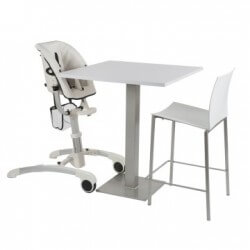 Chaises hautes Chaise sky blanche assise simili cuir blanche quax