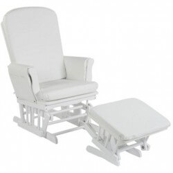 Rocking chair blanc coussin...