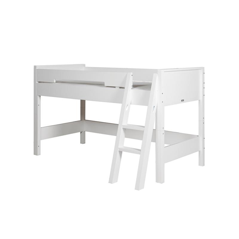 Lits Set de montage lit mezzanine mi-hauteur combiflex blanc avec échelle inclinée bopita