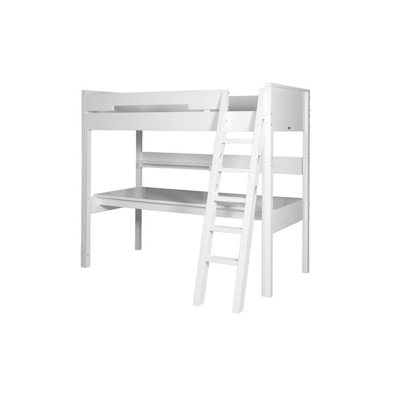 Lits Set de montage lit mezzanine xl combiflex blanc avec échelle inclinée bopita